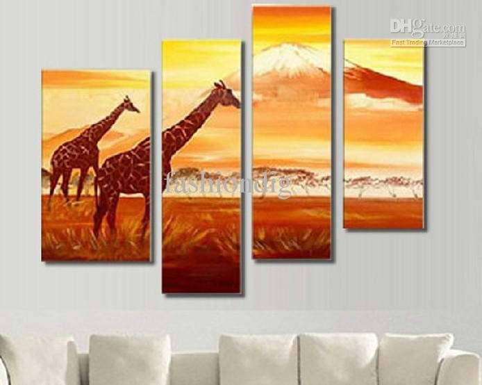 2017 African Animal Landscape Oil Painting Canvas Home Office Wall Throughout Animal Canvas Wall Art (Image 2 of 20)