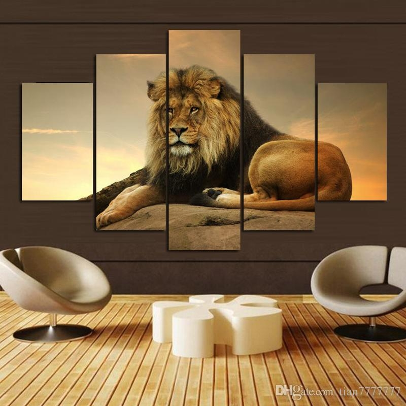 2017 Animal Lion Wall Art Picture Personalized Gifts Home Drawing Inside Lion Wall Art (Image 1 of 20)