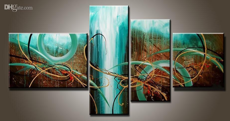 2017 Art Modern Abstract Oil Painting Multiple Piece Canvas Art With 4 Piece Wall Art Sets (Image 1 of 20)