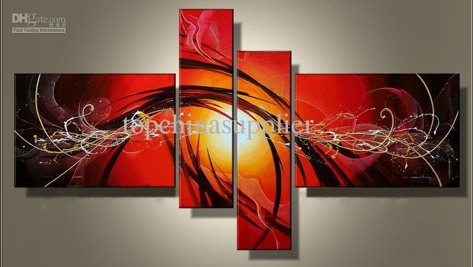 2017 Art Modern Abstract Oil Painting Multiple Piece Canvas Art With Wall Art Multiple Pieces (Image 4 of 20)