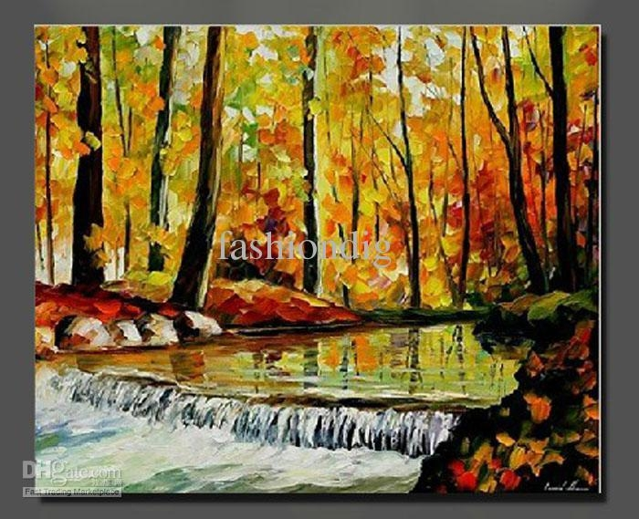2017 Autumn Forest River Oil Painting Canvas Landscape Scenery Regarding Canvas Landscape Wall Art (View 7 of 20)