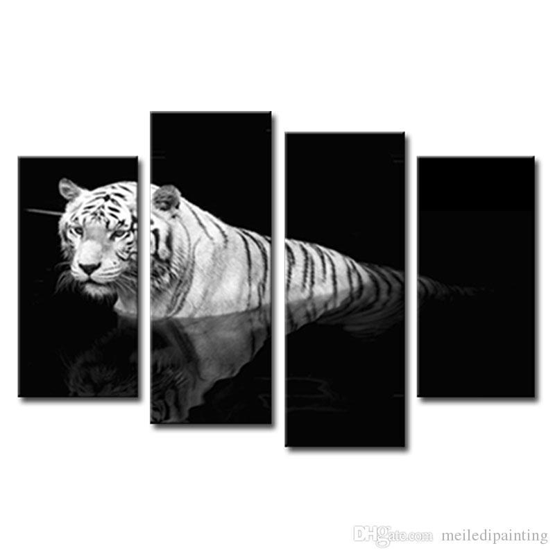 2017 Black & White Wall Art Painting Tiger Prints On Canvas The In Black And White Framed Wall Art (Image 1 of 20)