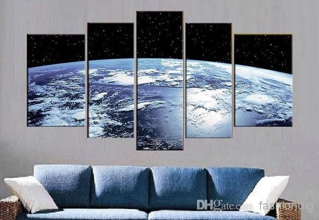 2017 Blue Earth Surface Abstract Oil Painting Canvas Outer Space For Outer Space Wall Art (Image 1 of 20)