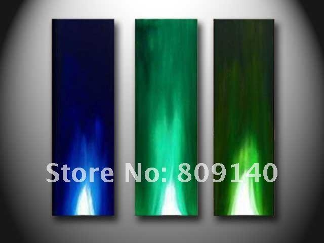 2017 Contemporary Abstract Blue Yellow White Oil Painting Canvas With Blue And Green Wall Art (Image 1 of 20)