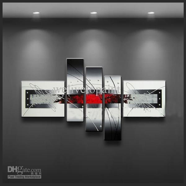 2017 Framed 5 Panels Black White And Red Wall Art Oil Painting Inside Black And White Framed Wall Art (Image 2 of 20)