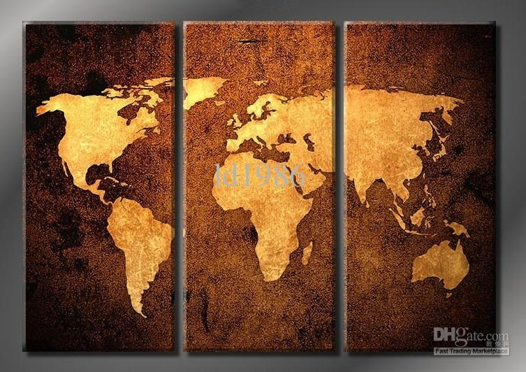 2017 Framed World Map 100% Handicraft 3 Panel Huge Modern Wall Pertaining To Three Panel Wall Art (Image 2 of 20)