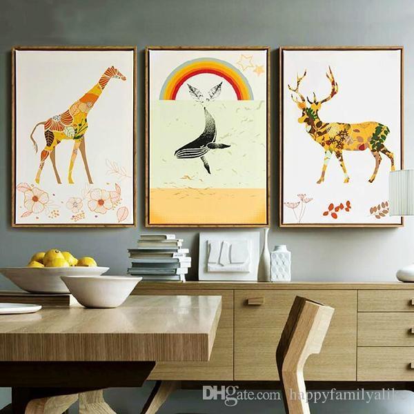 2017 Giraffe Framed Art Oil Painting Canvas Wall Art Waterproof Regarding Airbrush Wall Art (View 20 of 20)