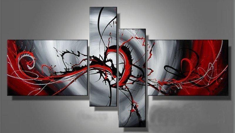 2017 Hand Painted Canvas Oil Painting Modern Home Decoration Art With Regard To 4 Piece Wall Art (Image 4 of 20)