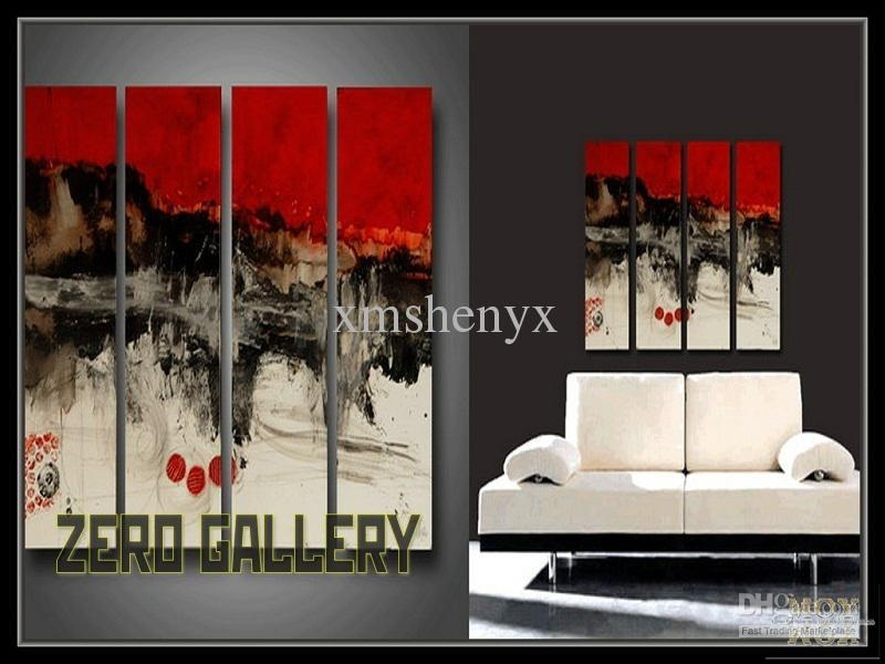 2017 Hand Painted High Quality Abstract Red Black White Oil Throughout Black And White Wall Art With Red (Image 4 of 20)