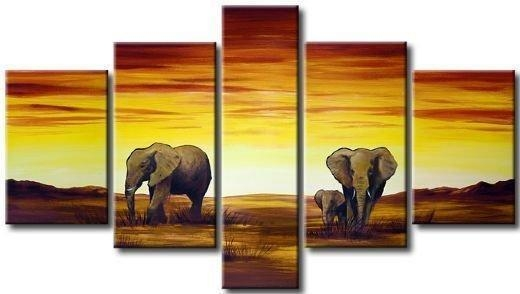 2017 Hand Painted Multi Panel Canvas Wall Art Horizon African Inside Multi Panel Canvas Wall Art (View 7 of 10)