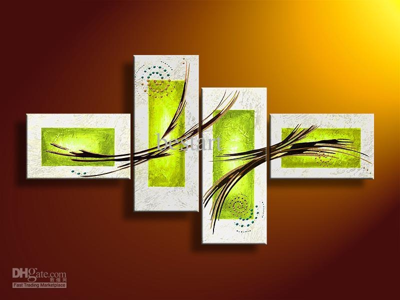 2017 Hand Painted Oil Wall Art Pale Green Line Abstract Oil For Green Canvas Wall Art (Image 2 of 20)