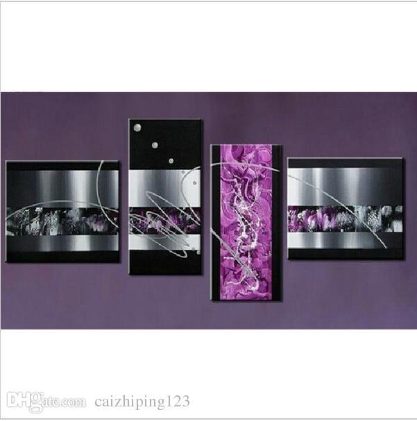 2017 Handmade Black White Purple Contemporary Abstract Oil Pertaining To Purple Canvas Wall Art (Image 1 of 20)