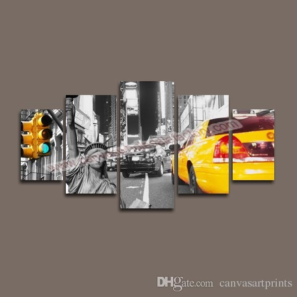 2017 Home Decor Canvas 5 Panel Canvas Art Of New York City Wall Throughout New York City Canvas Wall Art (View 9 of 20)