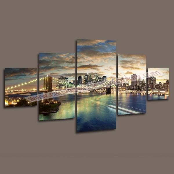 2017 Home Decor Canvas 5 Panel Wall Art Painting Of Manhattan Within Brooklyn Bridge Wall Decals (Image 1 of 20)