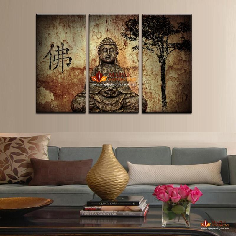 2017 Hot Sell 3 Panel Large Buddha Painting Canvas Wall Art Set Throughout Wall Art Sets For Living Room (View 8 of 20)