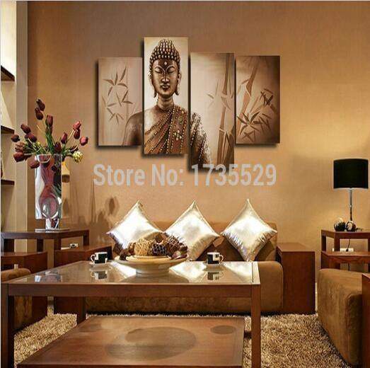 2017 Large Buddha Wall Art Religion Canvas Hd Oil Painting Modern Within Large Buddha Wall Art (Image 2 of 20)