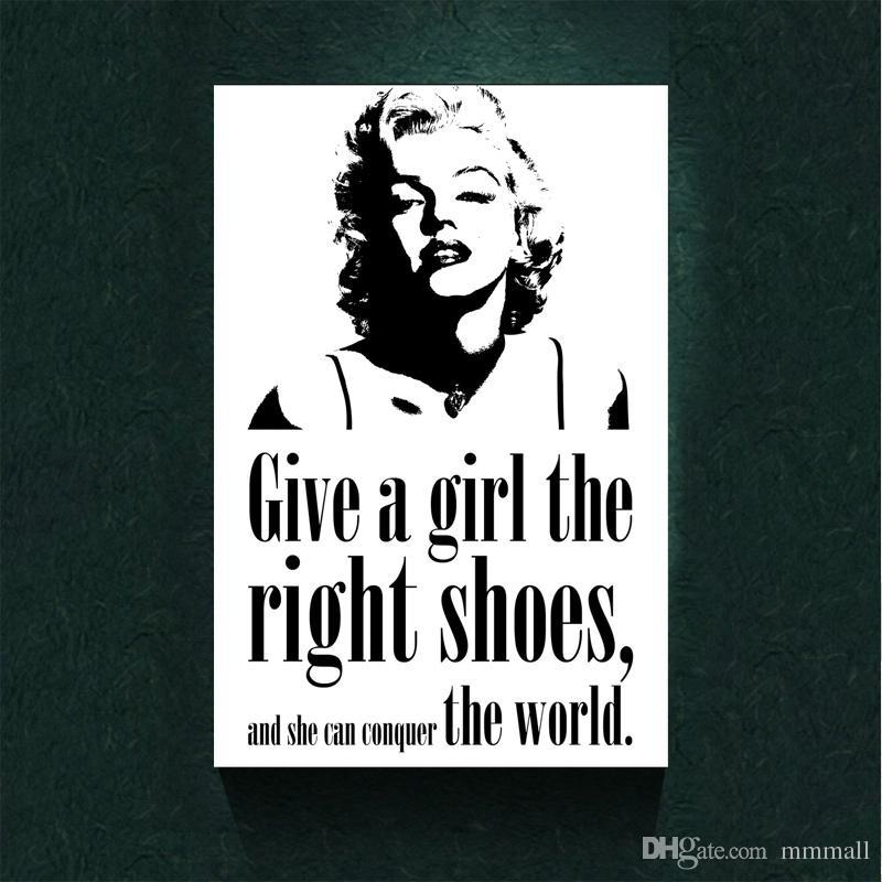 2017 Marilyn Monroe Quote 'girl Shoes' Home Decor Canvas Print In Marilyn Monroe Black And White Wall Art (View 11 of 20)