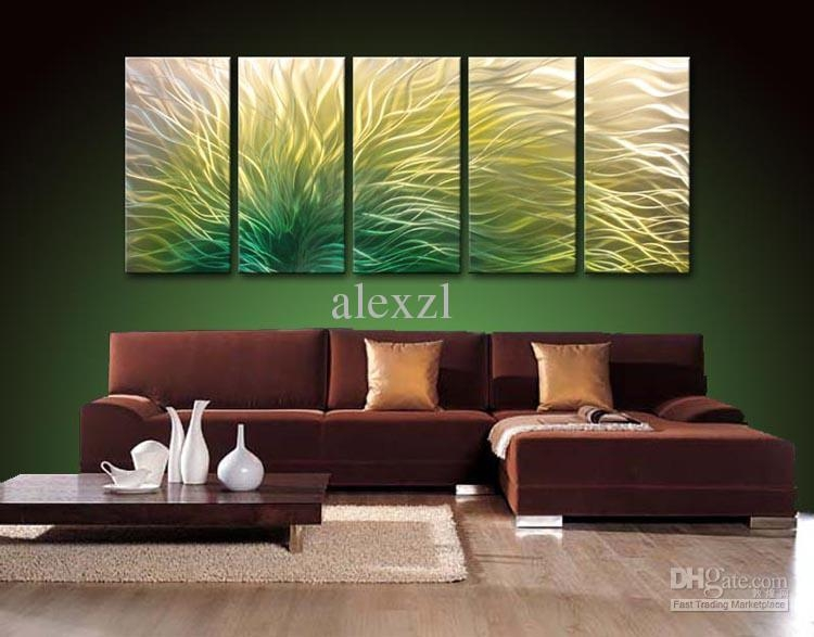2017 Metal Oil Painting,abstract Metal Wall Art Sculpture Painting With Regard To Yellow And Green Wall Art (Image 3 of 20)