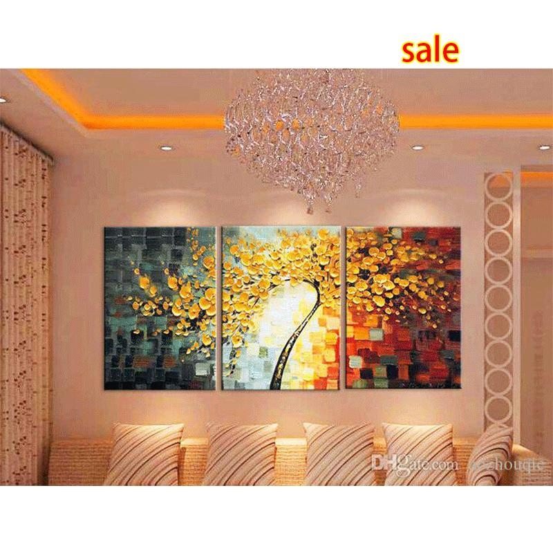 2017 New Oil Painting 3 Panel Canvas Wall Art Picture Modern Throughout 3 Piece Abstract Wall Art (View 10 of 20)