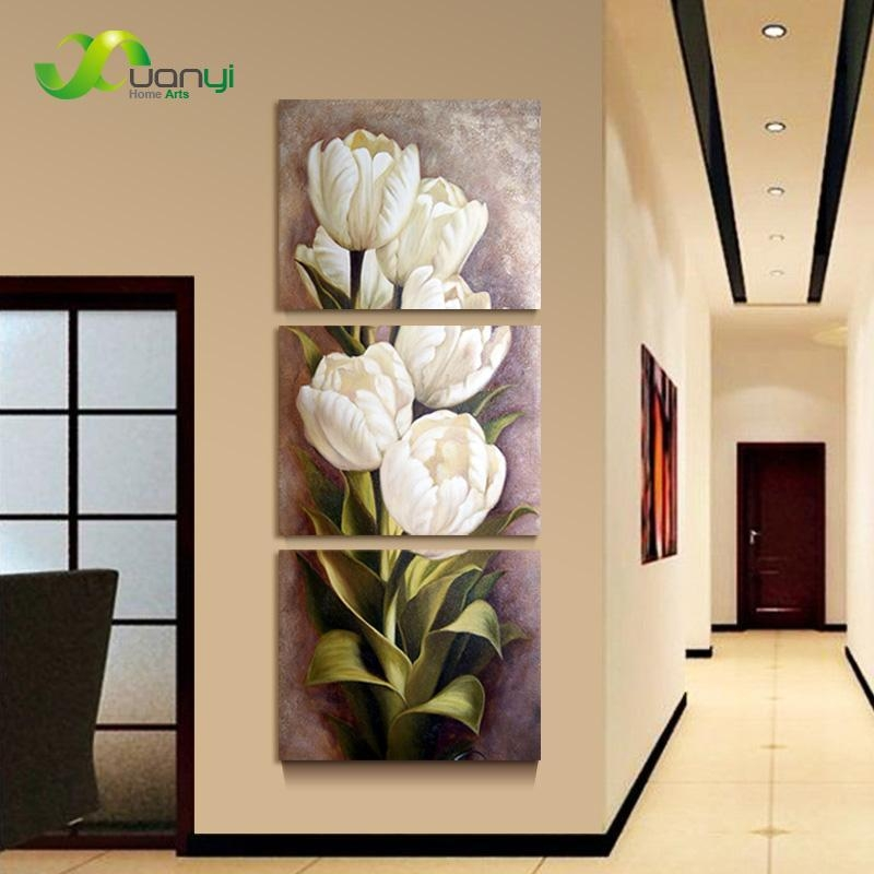 2017 Oil Painting Living Room Modern Wall Painting Flower With 3 Piece Modern Wall Art (Image 1 of 20)