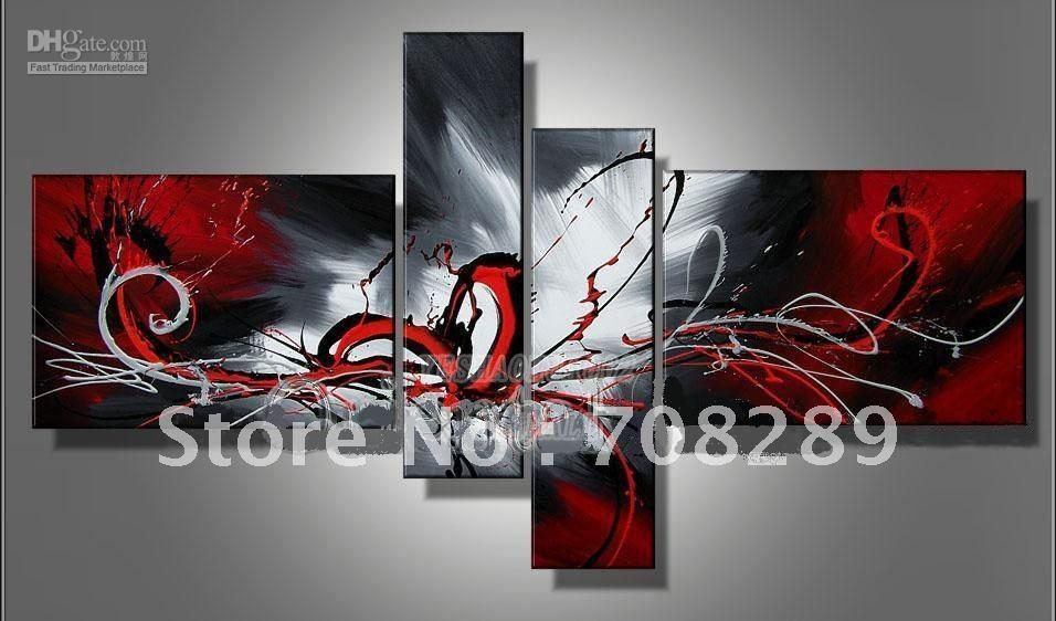 2017 Oil Paintings On Canvas Red Black White Home Decoration Throughout Black And White Wall Art With Red (View 7 of 20)