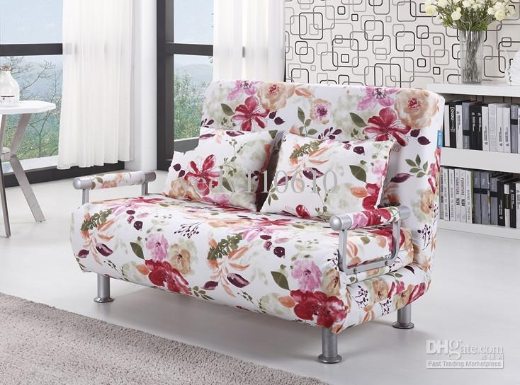 2017 Polyester Cloth Sofa Bed Modern Style Floral Pattern Ds010D2 Inside Floral Sofas (Image 2 of 20)