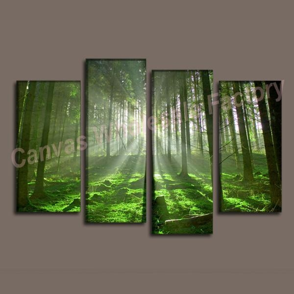 2017 Wall Decor Canvas Canvas Art Of Forest Painting Art Print With Regard To 4 Piece Wall Art Sets (Image 2 of 20)