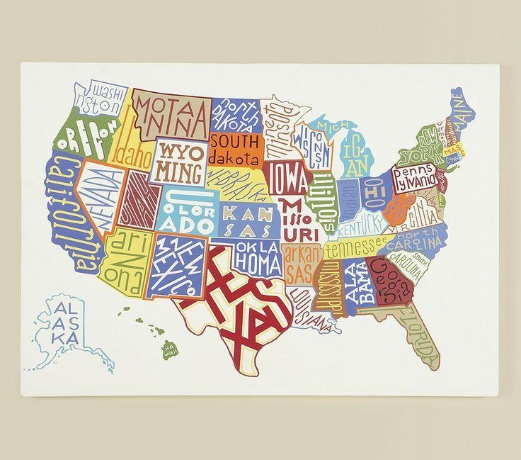 22 Best Usa Images On Pinterest | 50 States, Us Map And Map Of Usa Within United States Map Wall Art (Image 3 of 20)