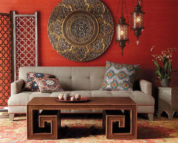 22 Living Rooms With Metal Wall Decorations | Home Design Lover With Regard To Asian Metal Wall Art (Image 1 of 20)