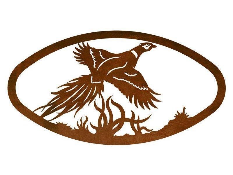 "22"" Oval Flying Pheasant Bird Metal Wall Art – Birds Wall Decor For Flying Birds Metal Wall Art (Image 2 of 20)"