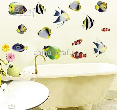 22 Tropical Fish Wall Decals, Wholesale Wall Sticker Buy Removable In Fish Decals For Bathroom (Image 3 of 20)