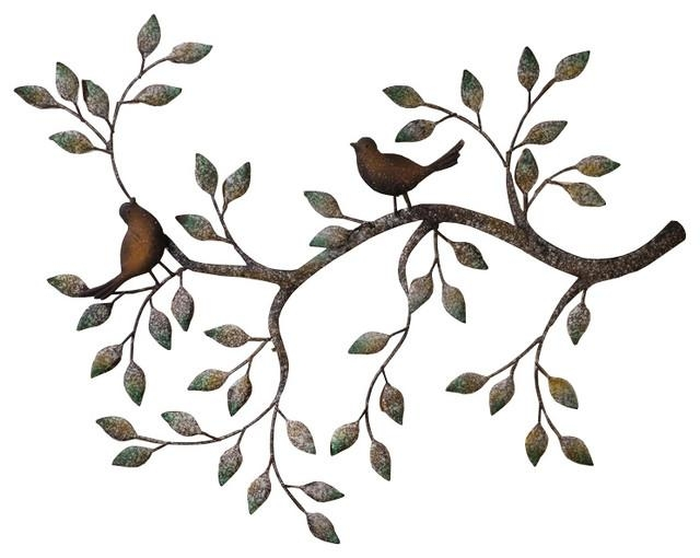 24, Branches, Birds Decorative Metal Wall Sculpture – Traditional Regarding Metal Wall Art Trees And Branches (Image 3 of 20)