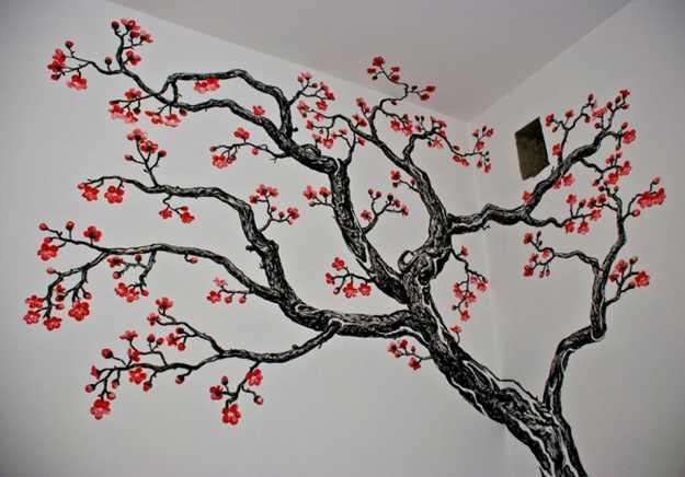 24 Modern Interior Decorating Ideas Incorporating Tree Wall Art For Painted Trees Wall Art (View 6 of 20)