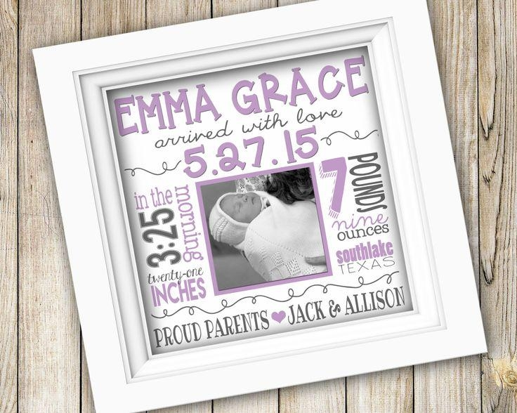 25 Best Baby Girl / Boy Birth Stats & Announcements / Nursery Wall With Personalized Nursery Wall Art (Image 1 of 20)