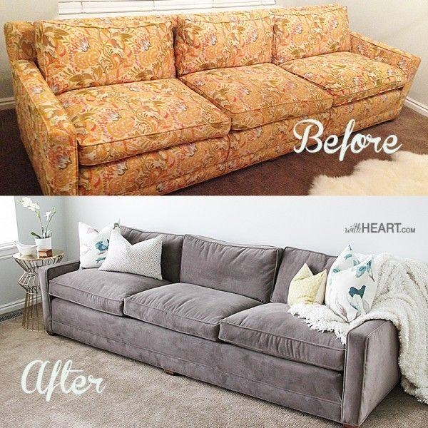 25+ Best Reupholster Couch Ideas On Pinterest | Sofa Covers Online Inside Reupholster Sofas Cushions (Image 1 of 20)