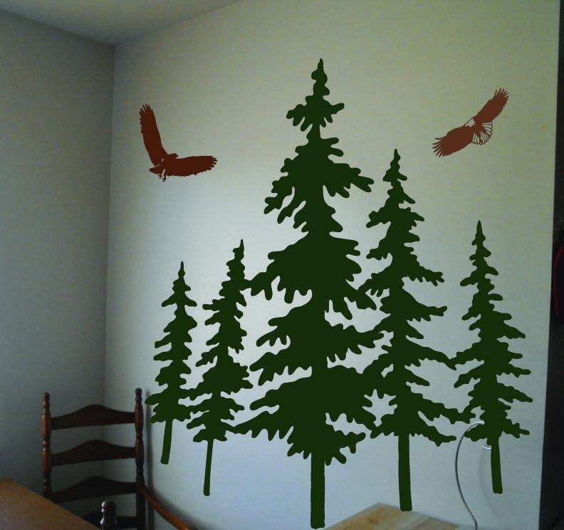 25 Pine Tree Wall Decals, Pine Tree Wall Decal Popular Items For Regarding Pine Tree Wall Art (Image 1 of 20)