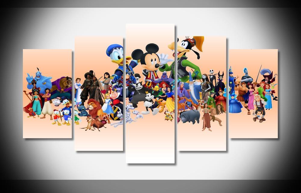 2522 Disney Characters Cartoon Poster Print Gallery Wrap Canvas Regarding Disney Canvas Wall Art (Image 2 of 20)