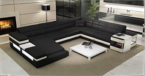 $2950 Modern Sectional Sofa – Black & Off White Italian Leather In Black Modern Sectional Sofas (Image 1 of 20)