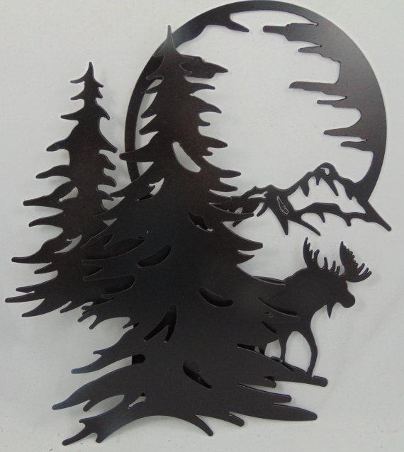 3 D Metal Moose Mountains Trees Moon Scene Wall Hanging / For Mountain Scene Metal Wall Art (Image 1 of 20)