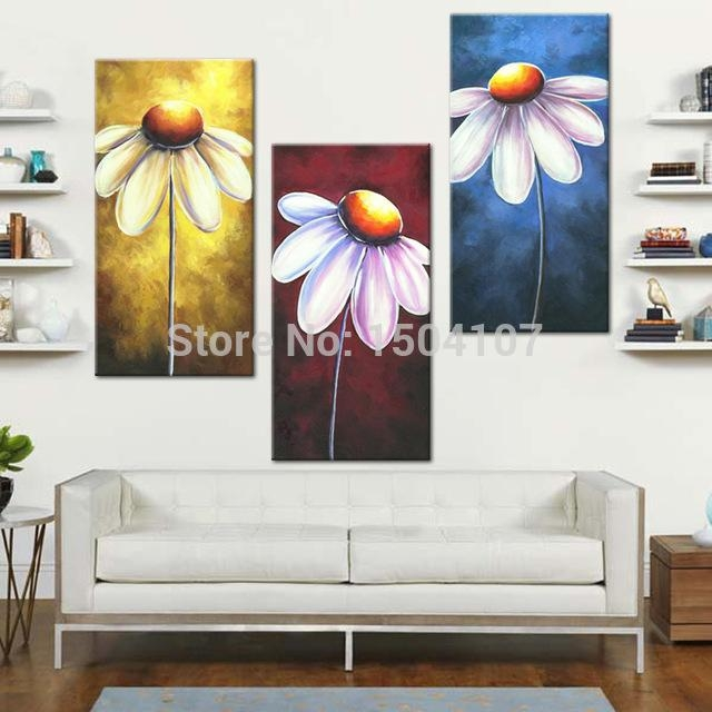 3 Pcs/set Canvas Wall Art Print Pictures Home Decorations Daisy Throughout Red And Yellow Wall Art (Image 3 of 20)