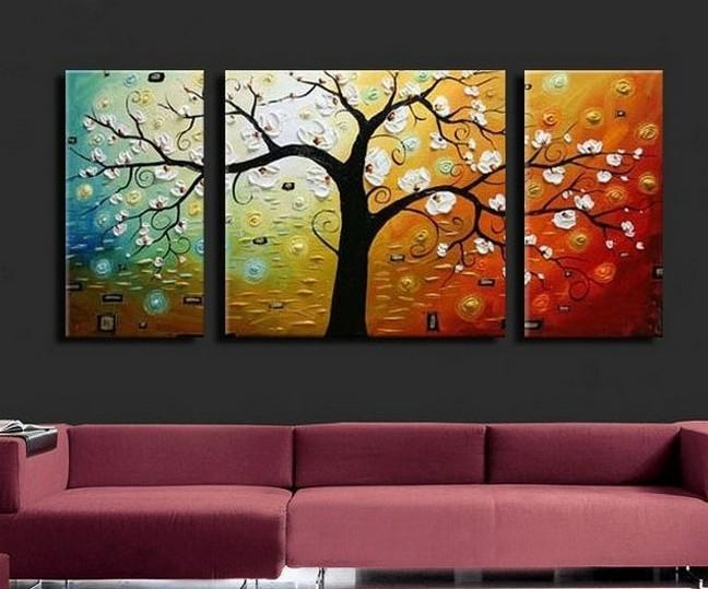 3 Piece Abstract Art, Tree Of Life Painting, Canvas Painting Inside 3 Piece Abstract Wall Art (View 18 of 20)