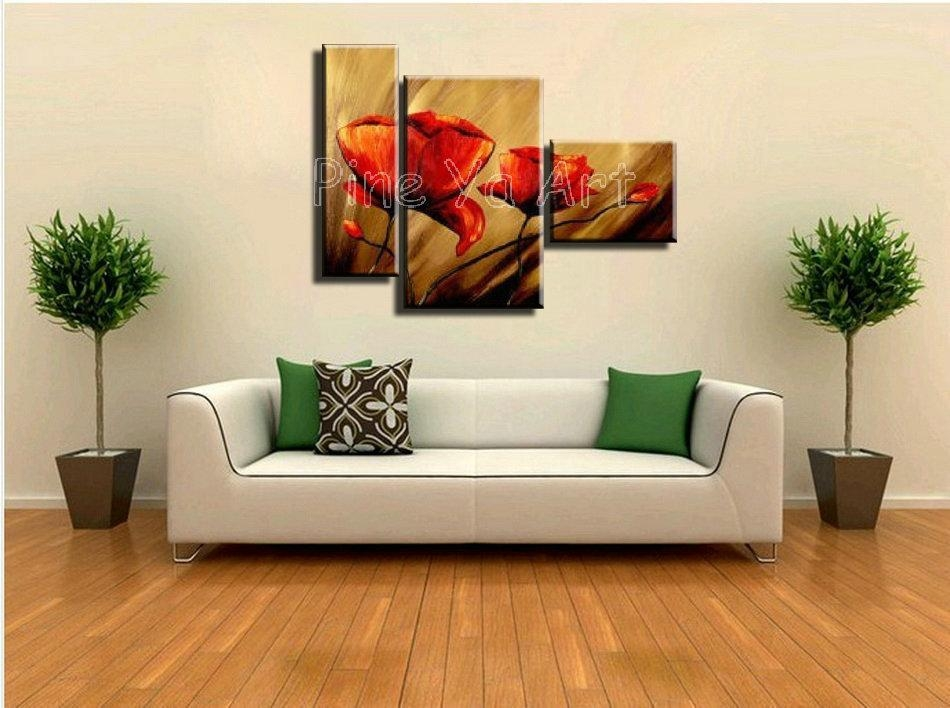 3 Piece Abstract Modern Canvas Wall Art Cheap Handmade Red Poppy Pertaining To 3 Piece Floral Canvas Wall Art (Image 1 of 20)