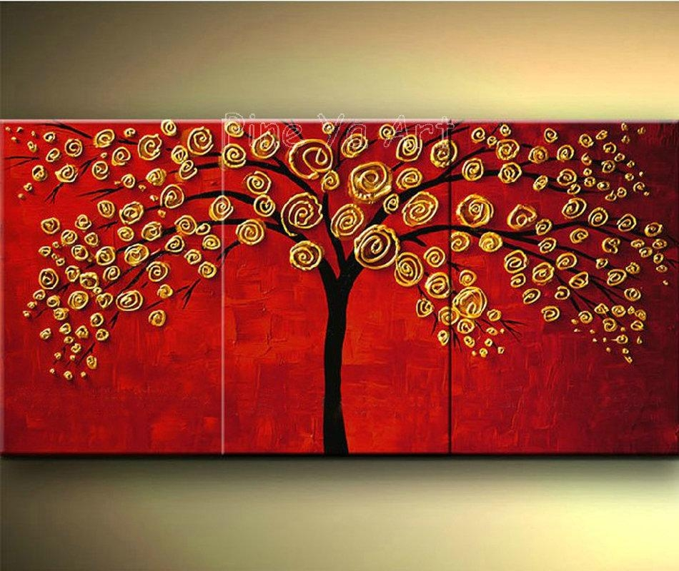 3 Piece Abstract Wall Art Cheap Modern Red Hand Made Tree Flower Pertaining To 3 Piece Abstract Wall Art (View 11 of 20)