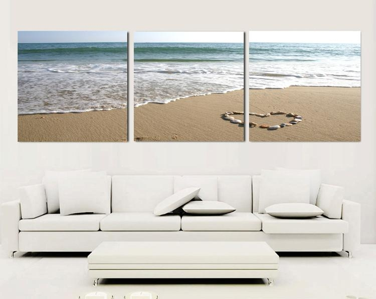 3 Piece Canvas Wall Art Sets Beach Painting Heart Stone Oil In 3 Piece Canvas Wall Art Sets (Image 2 of 20)