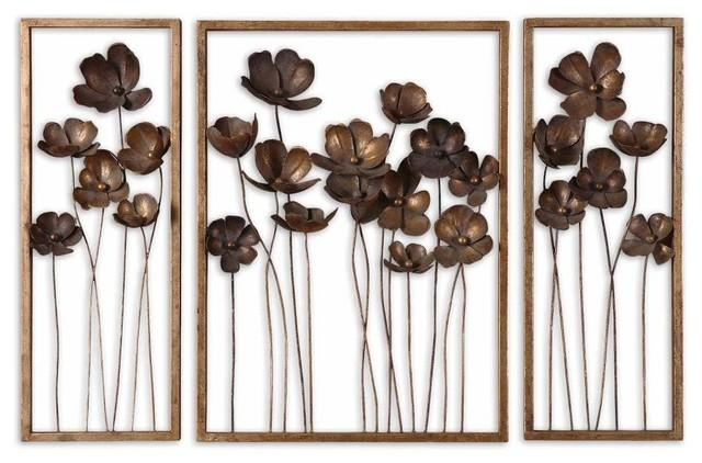 3 Piece Set Fancy Floral Wall Art Metal Gold Leaf Charcoal Gray In Metal Wall Art (Image 4 of 20)