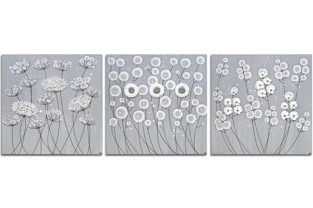3 Piece Wall Art Flowers In Neutral Gray White – Extra Large Intended For Neutral Wall Art (Image 3 of 20)