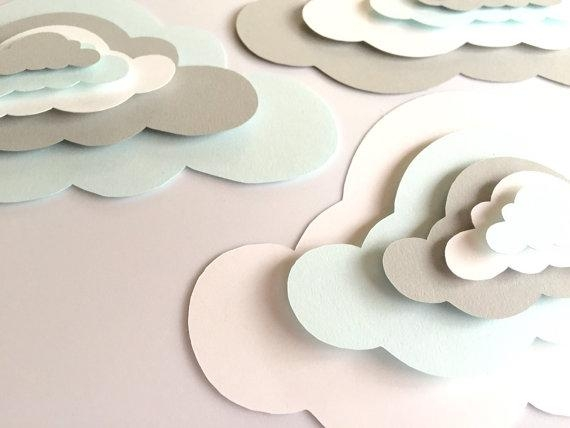 3 Pop Up Paper Clouds Cloud Wall Art 3 3D Paper Clouds Throughout 3D Clouds Out Of Paper Wall Art (View 7 of 20)