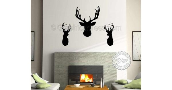 3 X Elegant Stags Head Wall Sticker, Home Wall Mural Decor Decal Inside Stags Head Wall Art (Image 1 of 20)