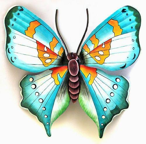 311 Best Butterflies, Hand Painted Metal Butterfly Art, Wall Art Regarding Large Metal Butterfly Wall Art (View 12 of 20)