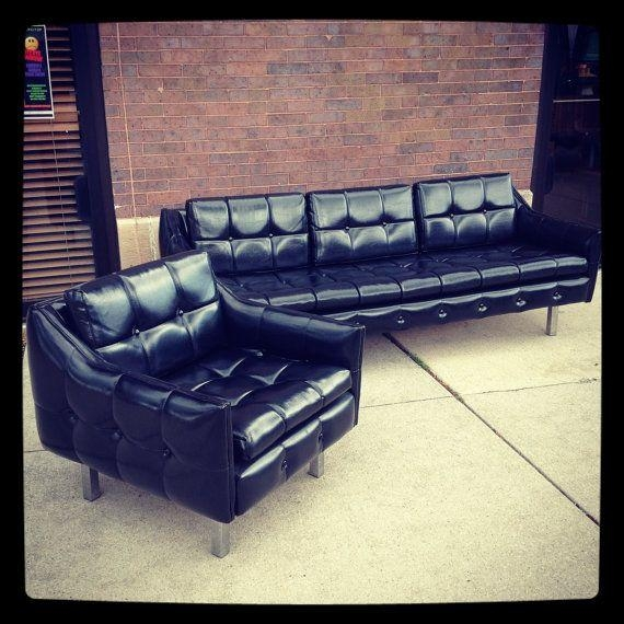 32 Best Vinyl Couch Images On Pinterest | Couch, Sofas And Mid Century With Black Vinyl Sofas (Image 3 of 20)